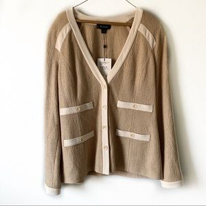 St. John Tan and Cream Buttoned Cardigan